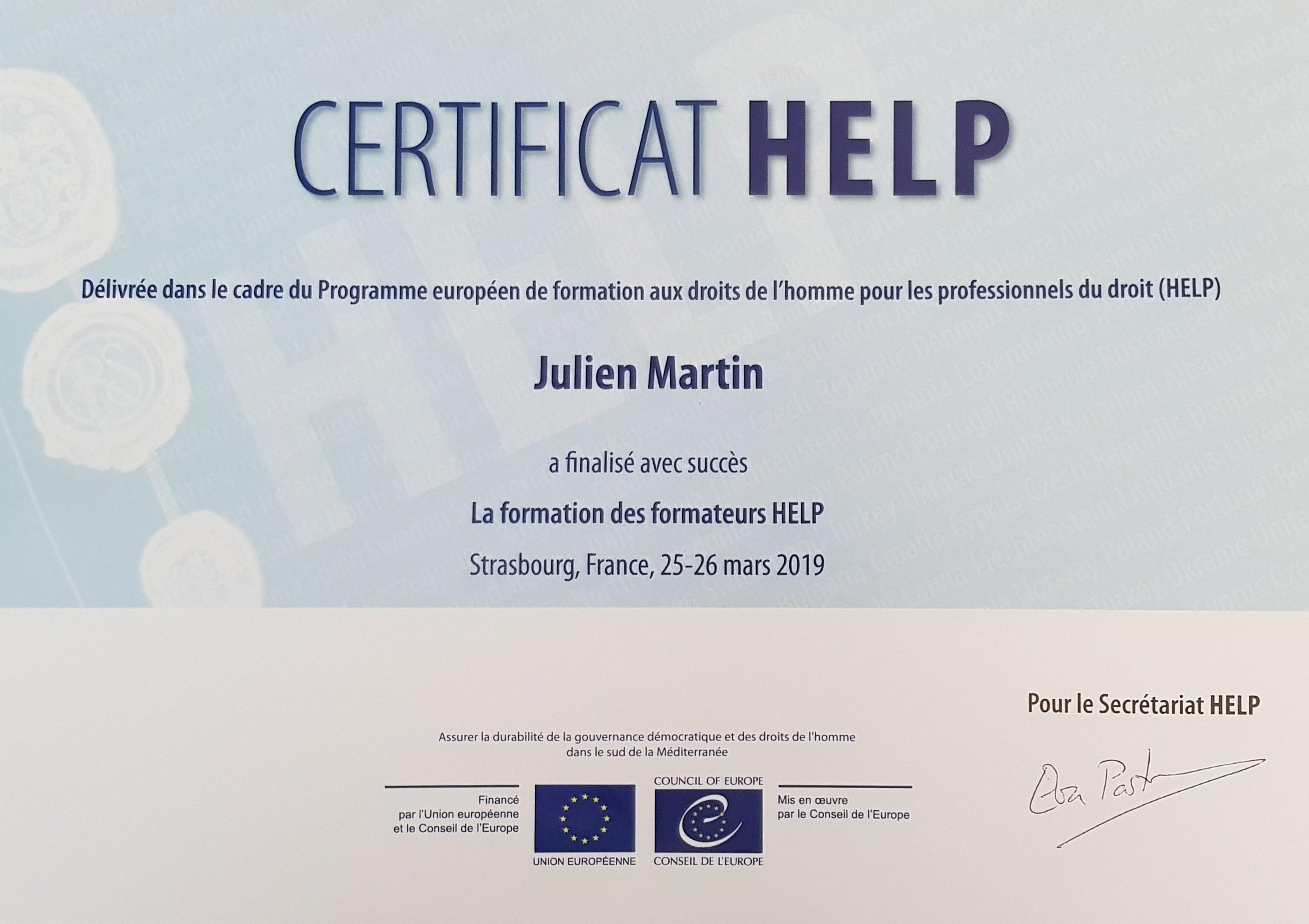 Maître Julien MARTIN est formateur certifié par le Conseil de l'europe